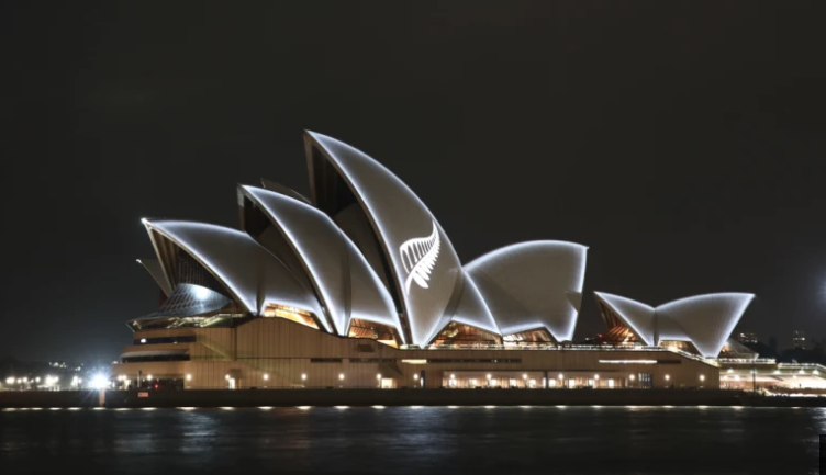 The New Zealand silver fern displayed on Sydney's Opera
