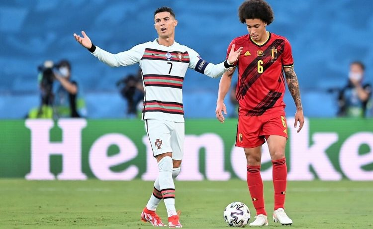 June 27, 2021, Seville, Espagne: Sevilla, Spain - June 27 :  Cristiano Ronaldo forward of Portugal & Axel Witsel midfielder of Belgium during the 16th UEFA Euro 2020 Championship Round of 16 match between Belgium and Portugal on June 27, 2021 in Sevilla, Spain, 27/06/2021 (Credit Image: © Panoramic via ZUMA Press)